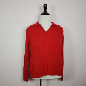 Villager Liz Claiborne Red V-neck Sweater Size XL